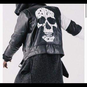 Rocawear BLAK goat leather graphic jacket/Size XL.